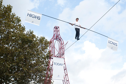 Sanofi Highs & Lows tightrope stunt
