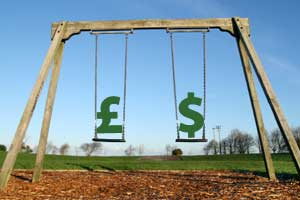 Playground swings containing the currency symbols for pounds and dollars