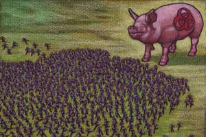 An illustration of hundres of people running away from a large pig