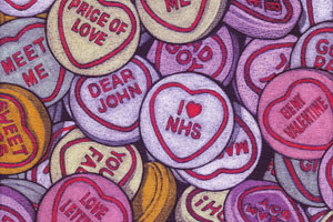 A pile of love hearts