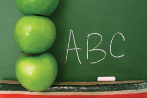 A stack of three apples next to a chalkboard on which 'ABC' is written