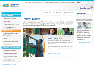 A screenshot of the Crestor home webpage