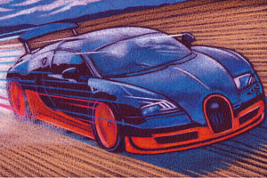 An illustration of a fast car