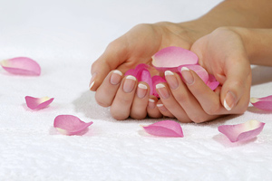 Female hands holding some flower petals