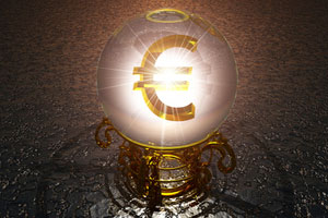 A Euro sign in a crystal ball
