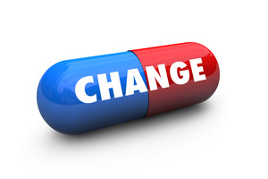 A pill with 'change' written on it