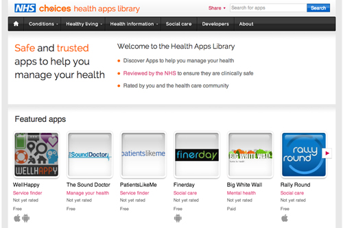 NHS health app library