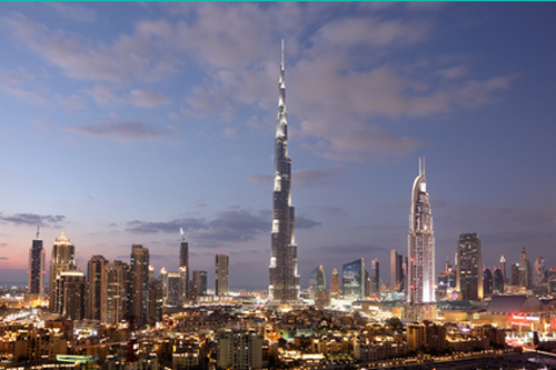 Burj Khalifa and Dubai downtown at dusk
