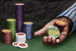 A collection of poker chips labelled 'NHS' and 'Patient'