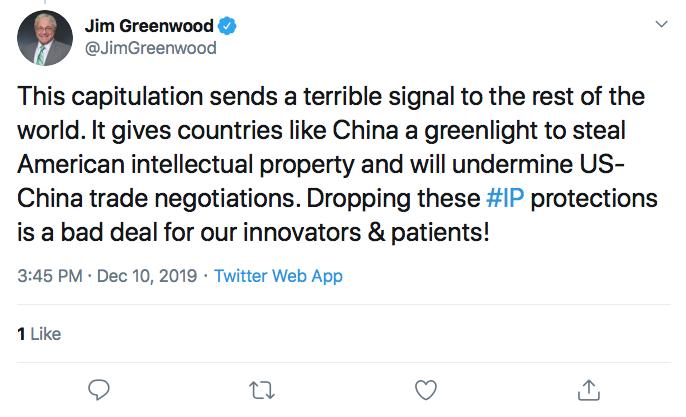 Jim Greenwood tweet
