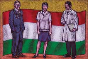 Illustration of doctors and nurse standing infront of Hungary flag