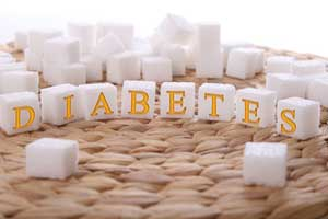 Diabetes engraved into sugar cubes