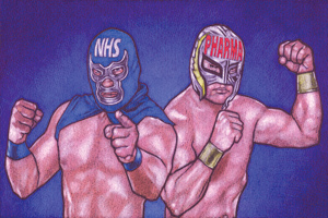Two wrestlers, one wearing a mask with 'NHS' written on it and one wearing a mask with 'Pharma' written on it