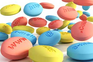 several pills embossed with web terminology such as www,@, http etc
