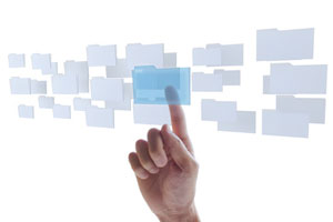 A hand selecting a folder from a holographic selection
