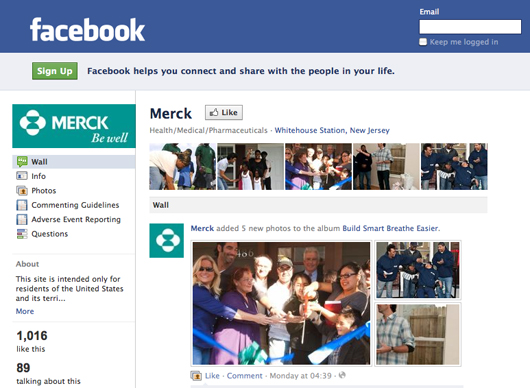 Merck & Co Facebook page