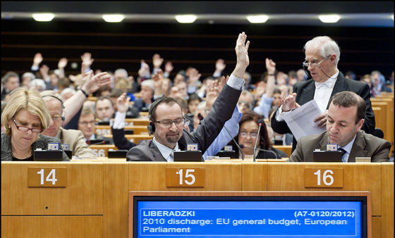 European Parliament vote on 2010 budget