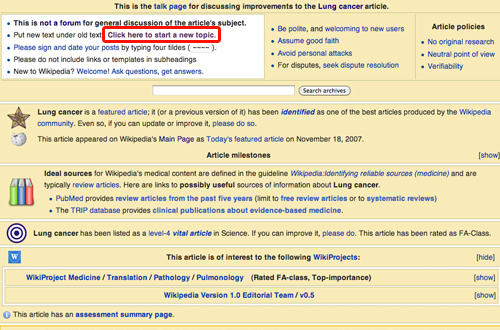 wikipedia lung cancer talk edit page