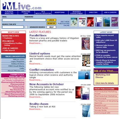 A snapshot of the PMLiVE homepage before relaunch