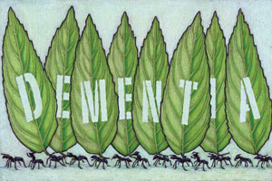 A group of ants carrying leaves that say 'DEMENTIA'