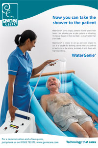 An advert for Watergenie's portable shower system