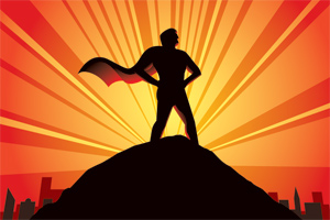 A superhero with a cape standing triumphantly on a hill