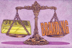 A set of scales measuring 'brand'
