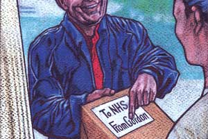 An illustration of Gordon Brown delivering a package labelled