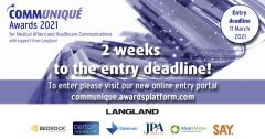 Communiqué Awards 2021 entry deadline is two weeks away!