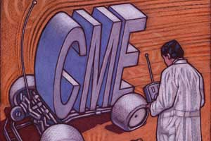 An illustration of a remote-controlled car using the letters CME