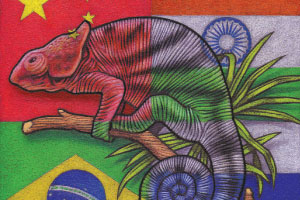 Image of lizard on flags of Russia, Brazil, China and India