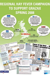 Poster to promote the regional hay fever campaign, including various press clippings of stories involving hay fever