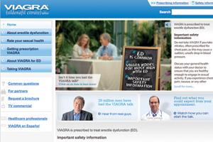 A screenshot of the Viagra home webpage