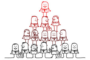 Cartoon businessmen standing on top of each other in a pyramid formation