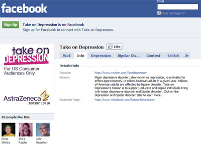 Take on Depression campaign's Facebook pag