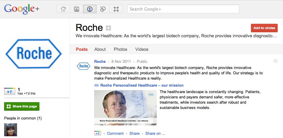 Pharma company Roche Google Plus page