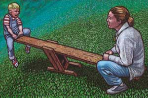 An illustration of a child and an adult on a seesaw