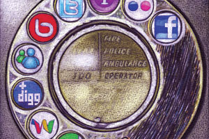 An old fashioned rotary telephone with symbols for social networking sites replacing the numbers