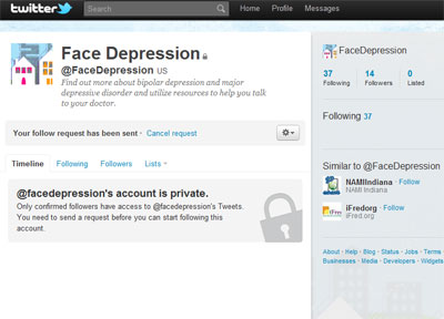 The Face Depression campaign's Twitter page
