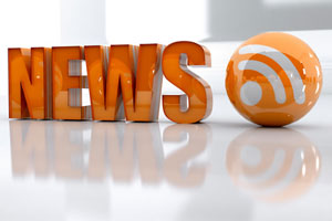 Block letters spelling 'news' and the RSS logo