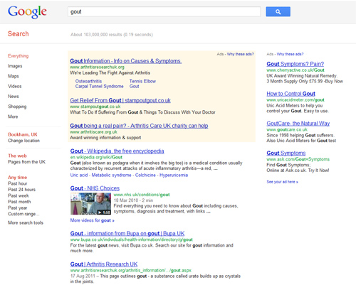 Top Google search results for 'Gout'
