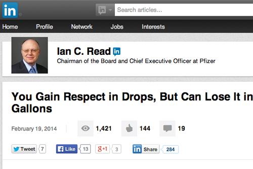LinkedIn Pfizer Ian Read