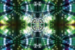 Green, kaleidoscopic image