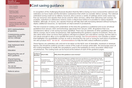 NICE - cost-saving guidance