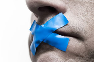 Mouth taped over