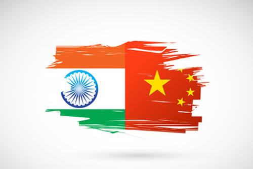 India China flags illustration