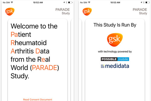 GSK PARADE iPhone app ResearchKit Apple
