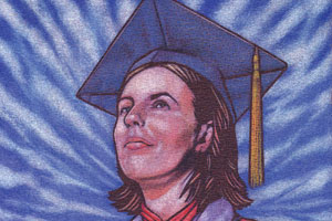 A young woman in a graduation hat