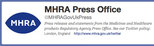 Medicines regulator MHRA Twitter