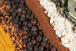 A selection of mixed powdered spices